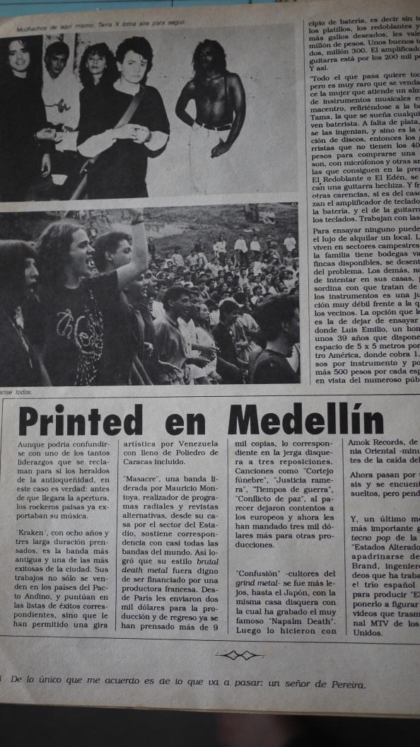 printed in medellin 90 rock revista la hoja