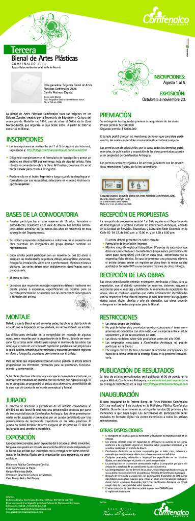 Convocatoria Bienal de Artes Plásticas Comfenalco 2011